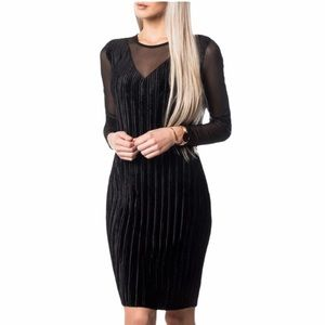 Vero Moda Bianca Mesh Pleated Mini Dress